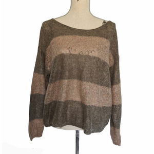 Free People Striped Sweater Brown & Pink Small